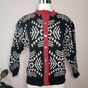 Vintage • Cambridge dry goods wool snowflake cardi